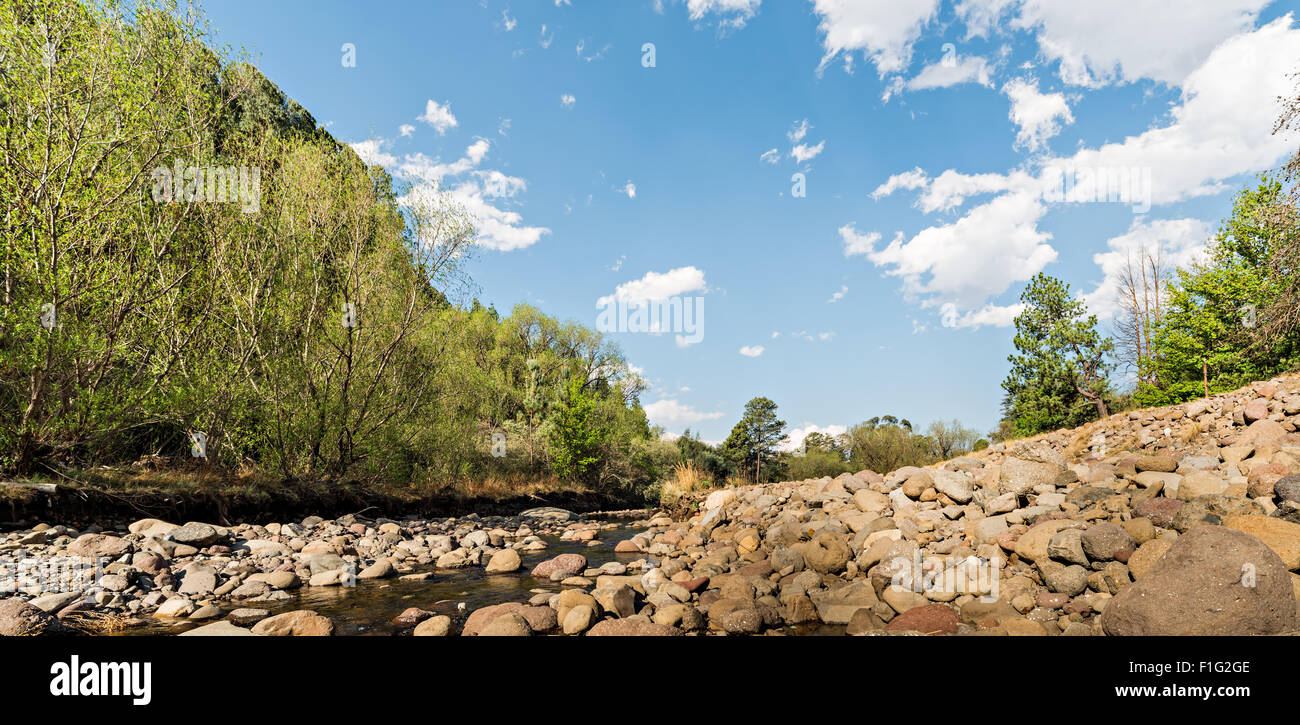 View up the Tugela River near the Drakensberg Mountains Stock Photo
