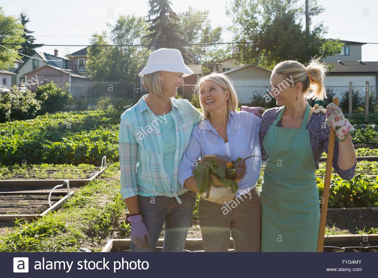 Smiling women in sunny community vegetable garden - Stock Image