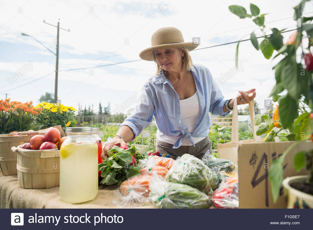 Woman shopping for fresh produce at farmers market - Stock Image