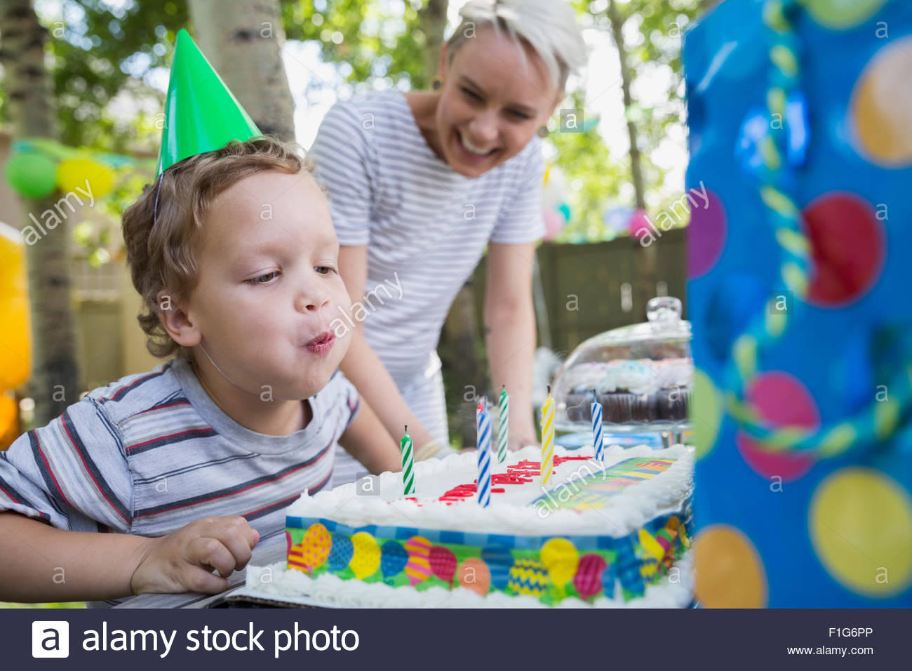 Boy Blowing Out Birthday Candles On Cake Backyard