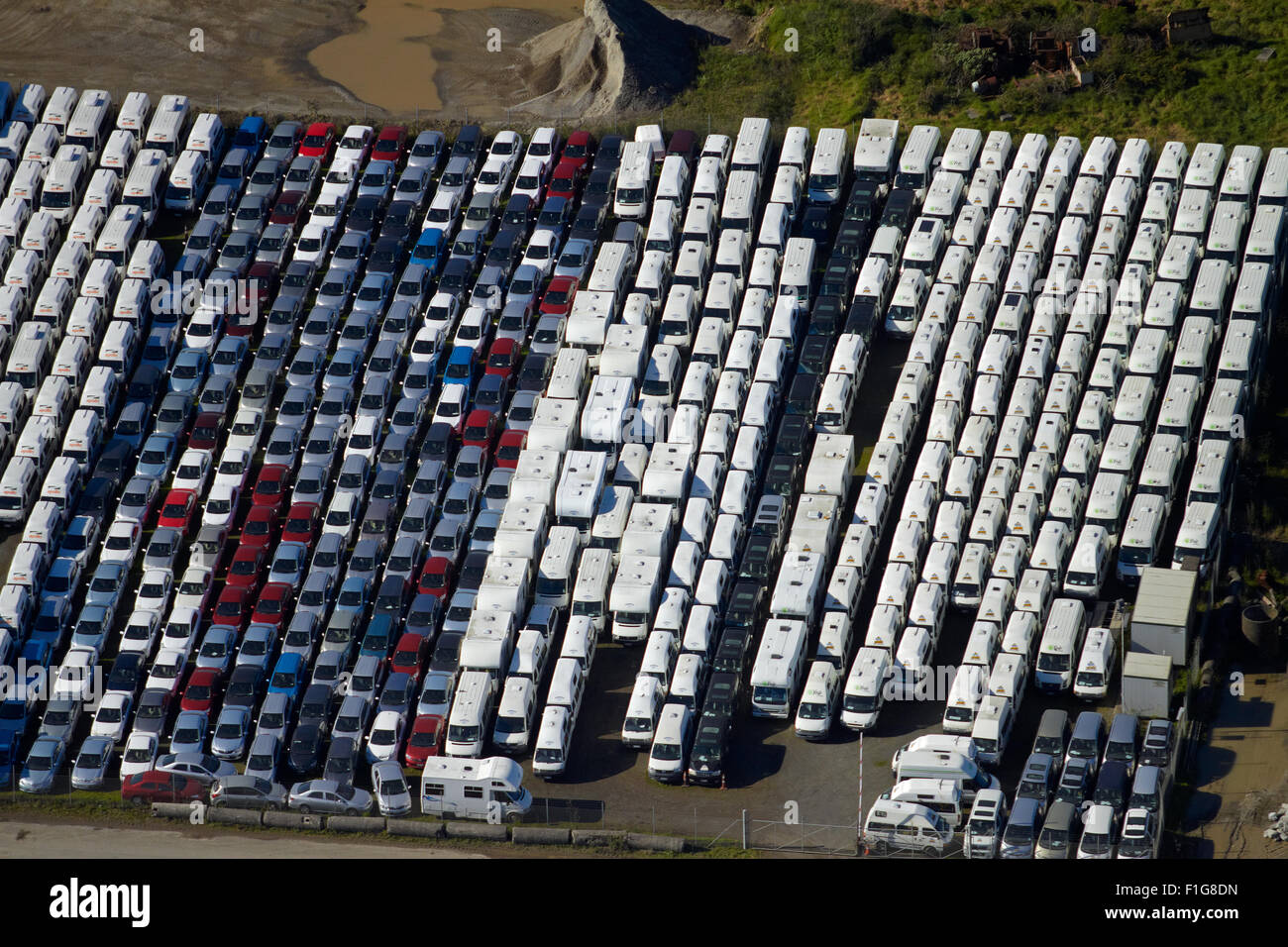 Rental vehicles, Auckland Airport, North Island, New Zealand - aerial - Stock Image