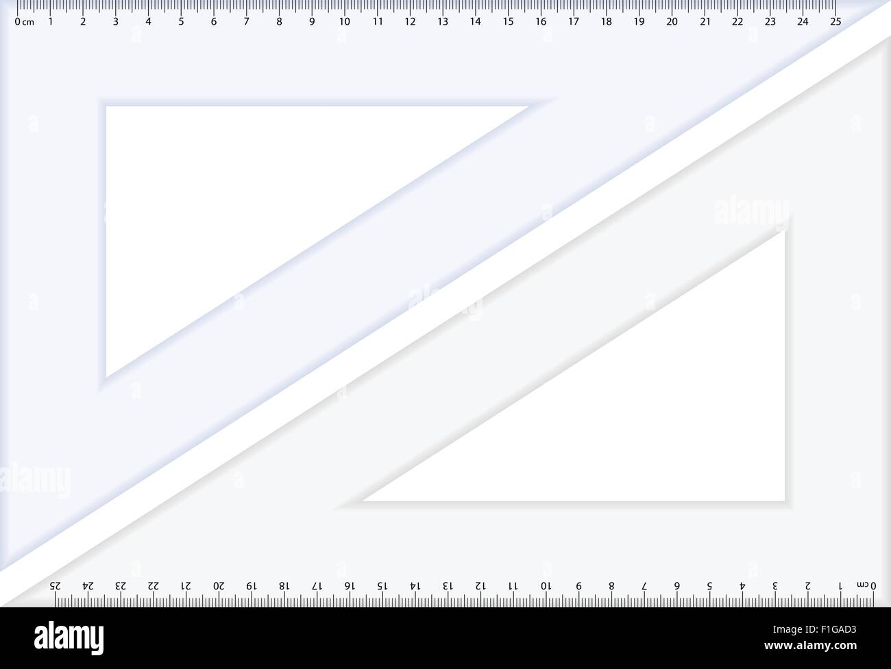Triangle rulers on white background. Vector illustration. - Stock Vector