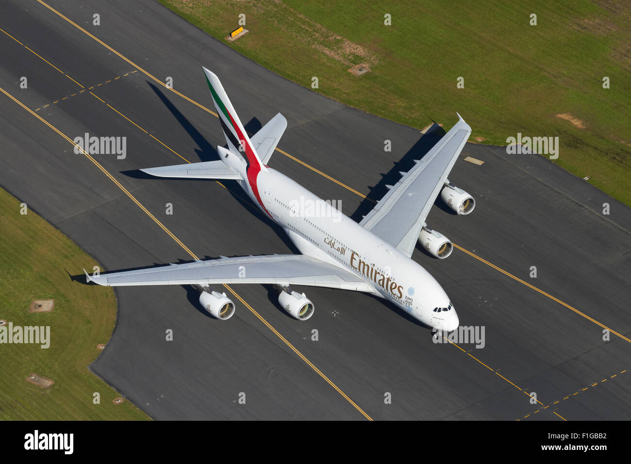 Emirates Airbus A380 at Auckland Airport, North Island, New Zealand - aerial - Stock Image