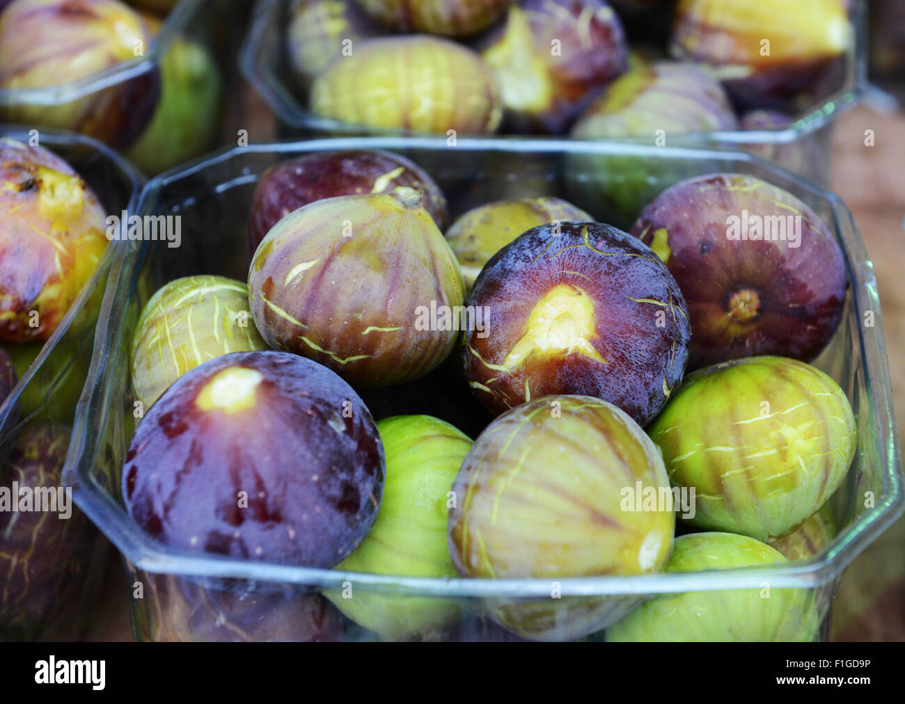 Fresh figs sold at the vibrant 'Machane Yehuda' market in Jerusalem. Stock Photo