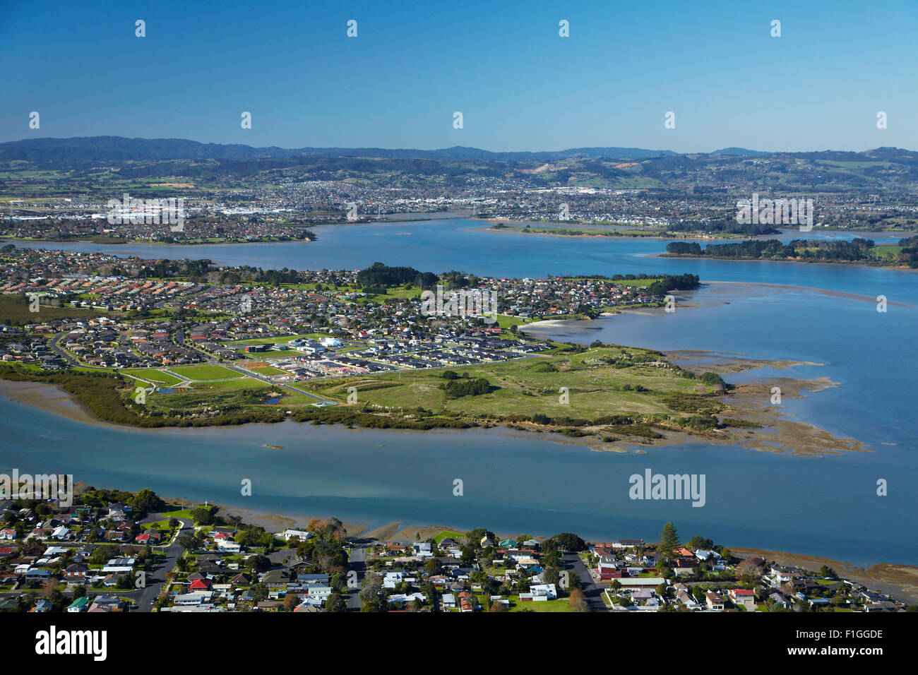 Weymouth, Waimahia Creek, Wattle Downs and Manukau Harbour, Auckland, North Island, New Zealand - aerial - Stock Image