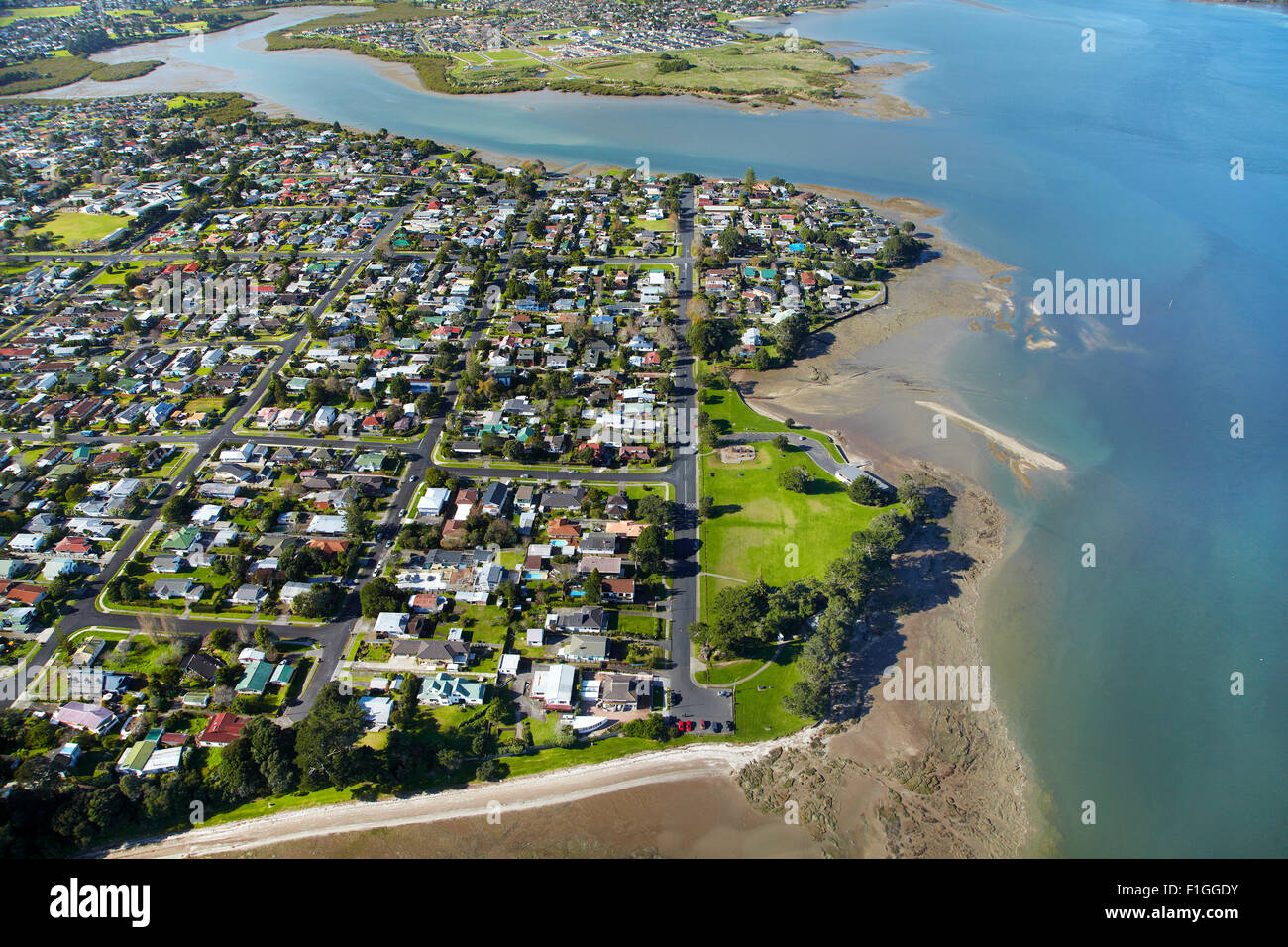 Keith Park, Weymouth, and Manukau Harbour, Auckland, North Island, New Zealand - aerial - Stock Image