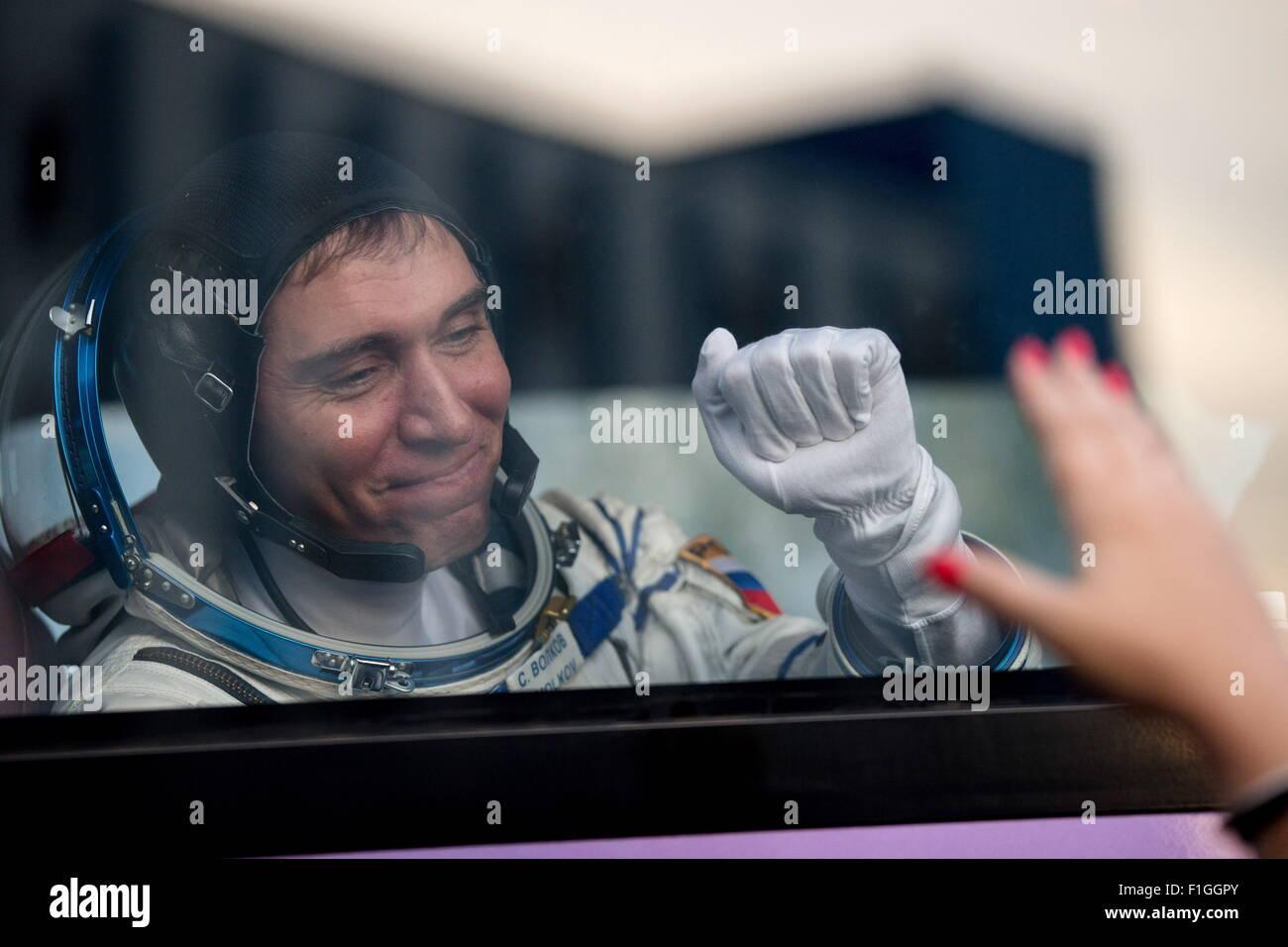 Baikonur, Kazakhstan. 2nd Sep, 2015. ISS Expedition 45/46 main crew member, Roscosmos cosmonaut Sergei Volkov seen Stock Photo