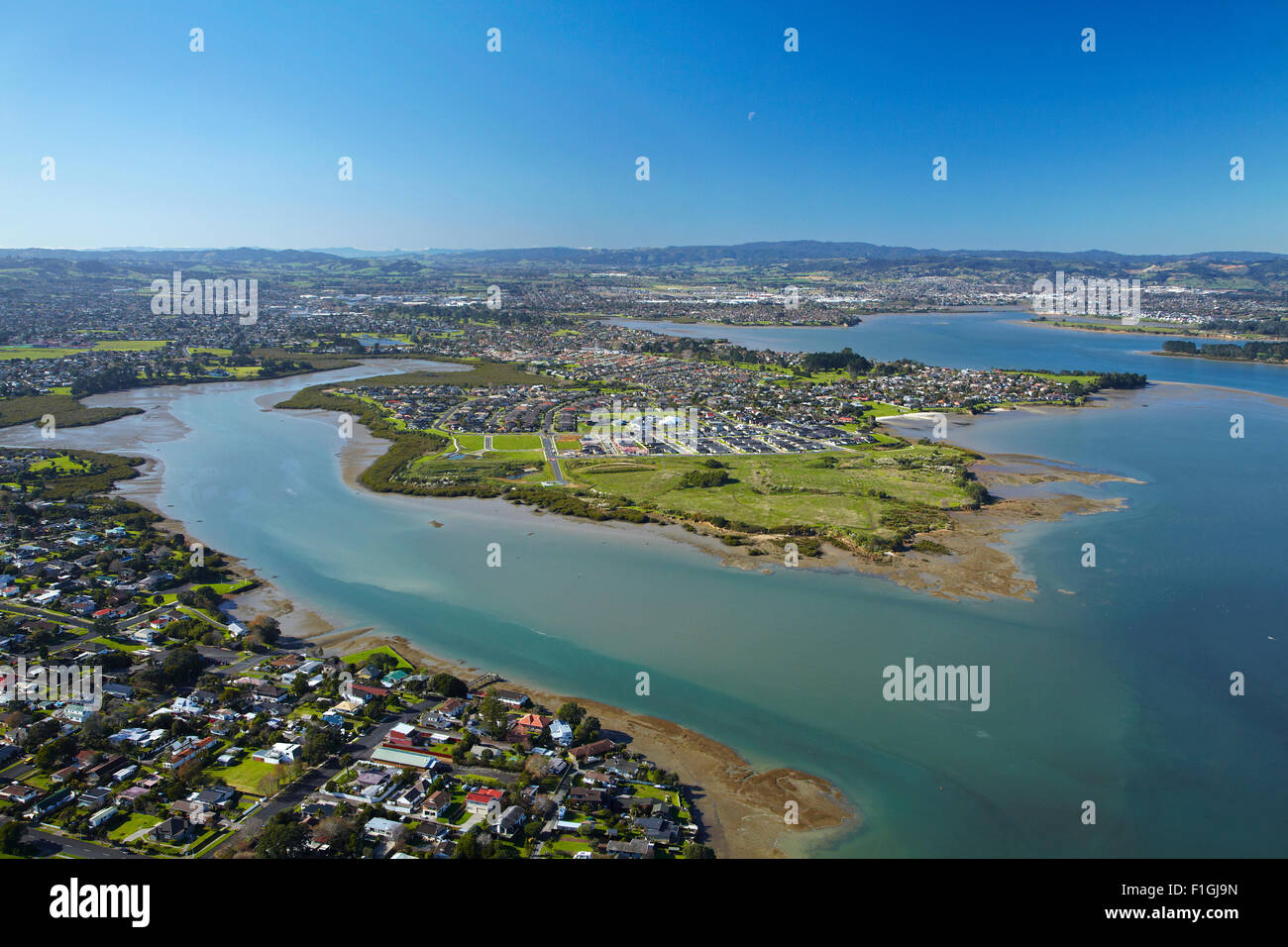 Weymouth, Wattle Downs and Manukau Harbour, Auckland, North Island, New Zealand - aerial - Stock Image
