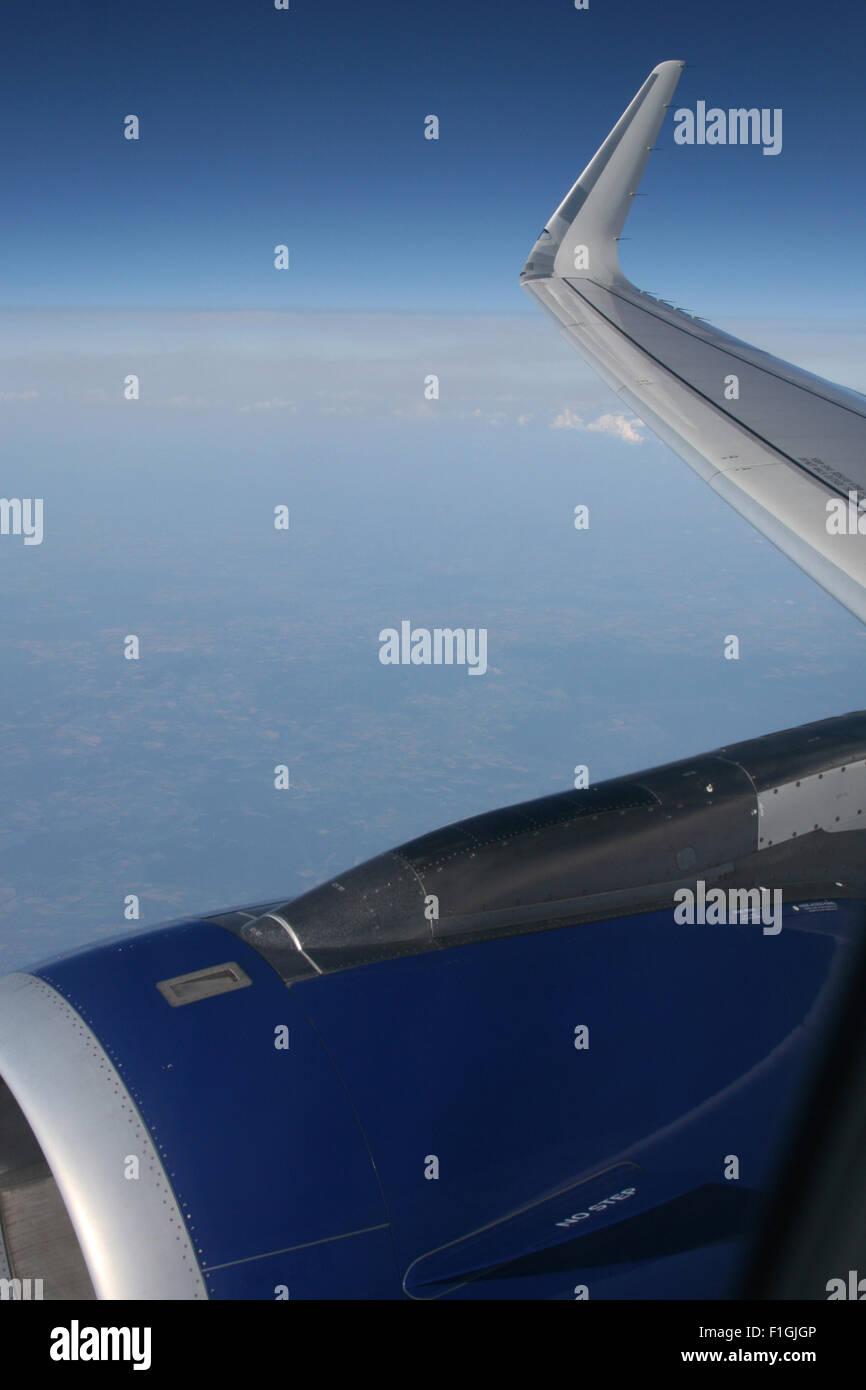 BRITISH AIRWAYS IN FLIGHT WINGLET A320 AIRBUS WING - Stock Image