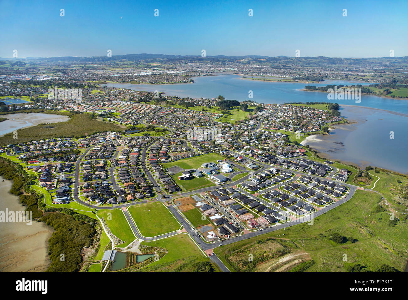 Wattle Downs and Manukau Harbour, Auckland, North Island, New Zealand - aerial - Stock Image