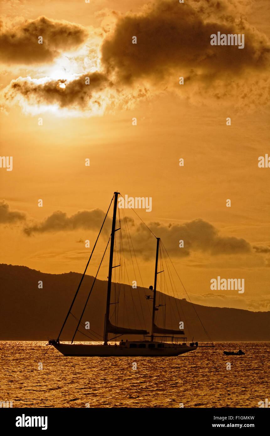 Large sailing yacht at anchor. Stock Photo