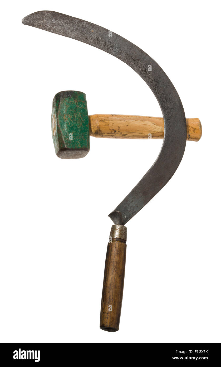Sickle and hammer and star symbols of the Russian Revolution. - Stock Image