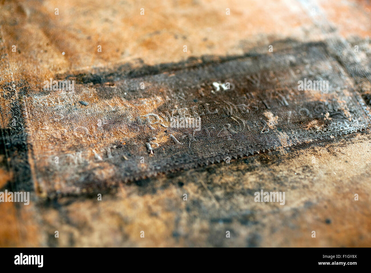 embossing on front cover of the book of common prayer,church of england,psalter or psalms of David, Stock Photo