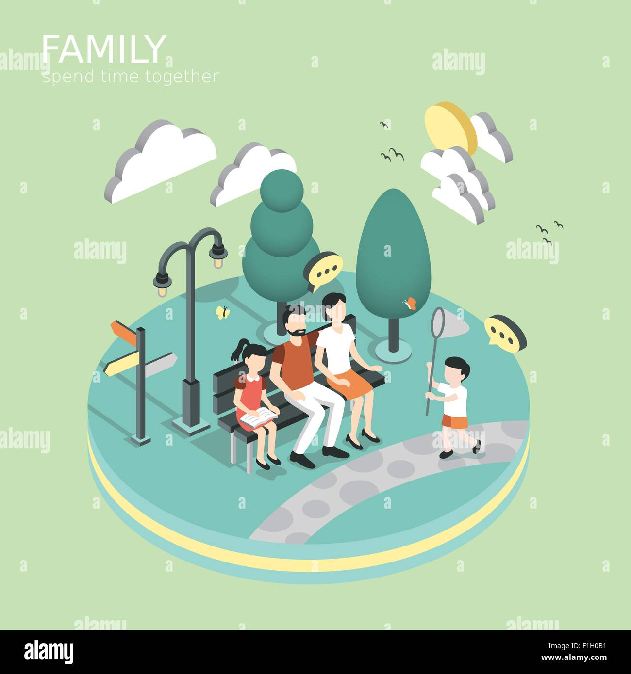 family spend time together concept in flat 3d isometric graphic - Stock Vector