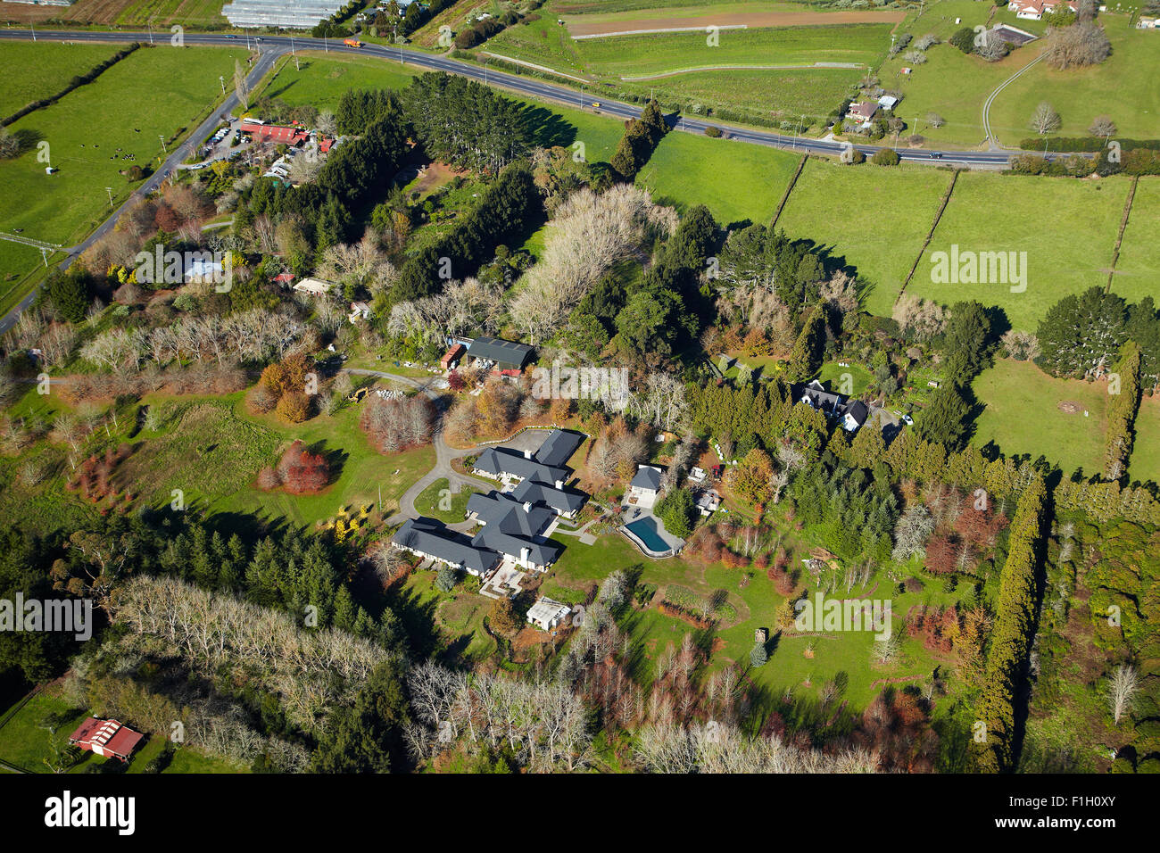 Lifestyle property, Drury, South Auckland, North Island, New Zealand - aerial - Stock Image