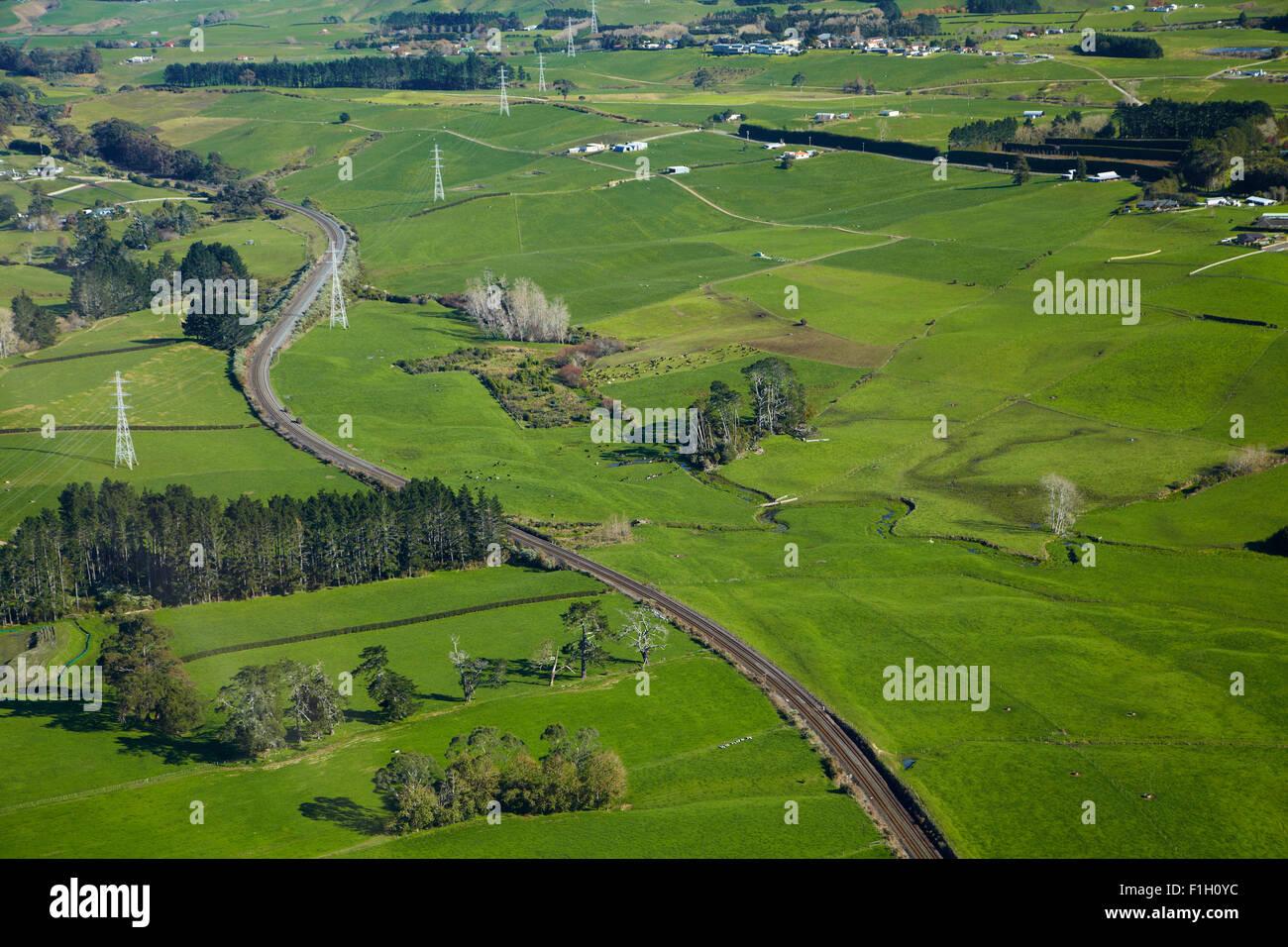 North Island Main Trunk Railway Line near Paerata, South Auckland, North Island, New Zealand - aerial - Stock Image