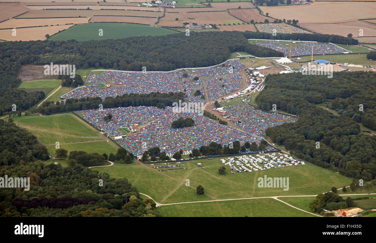 aerial view of the Leeds Music Festival, 2015 - Stock Image
