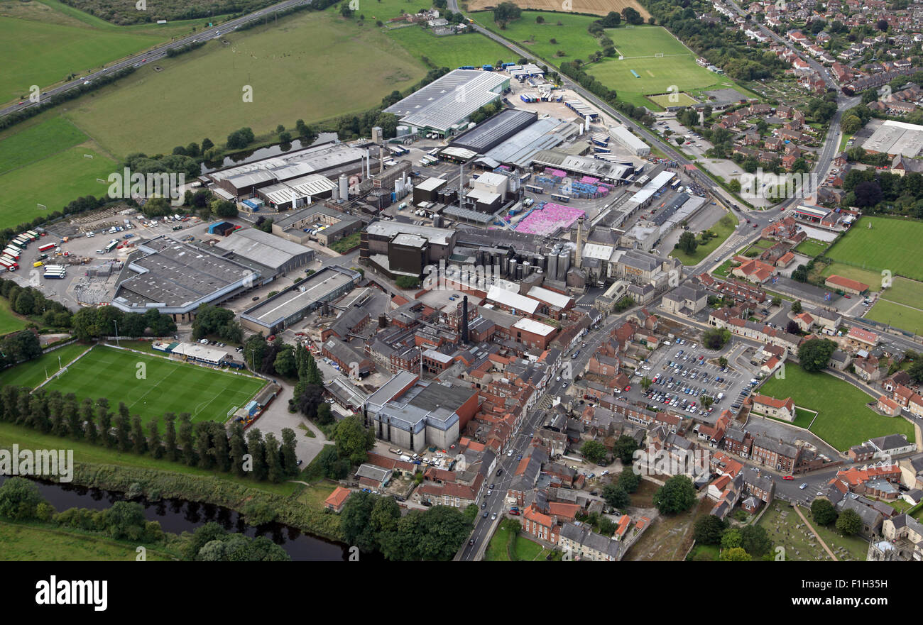 aerial view of the West Yorkshire market town of Tadcaster, UK - Stock Image
