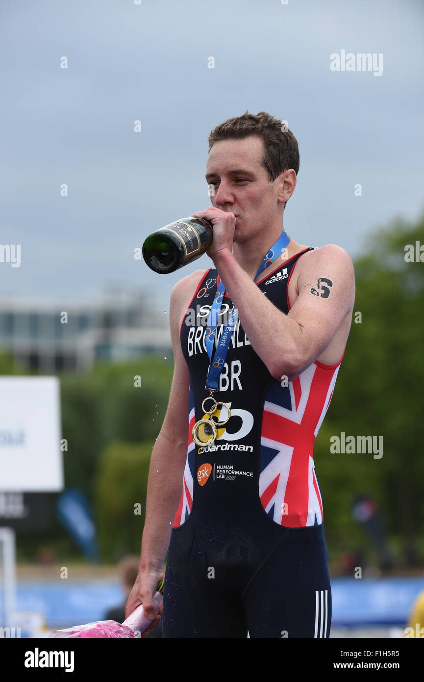 Alistair Brownlee wins the London leg of the World Triathlon series - Stock Image