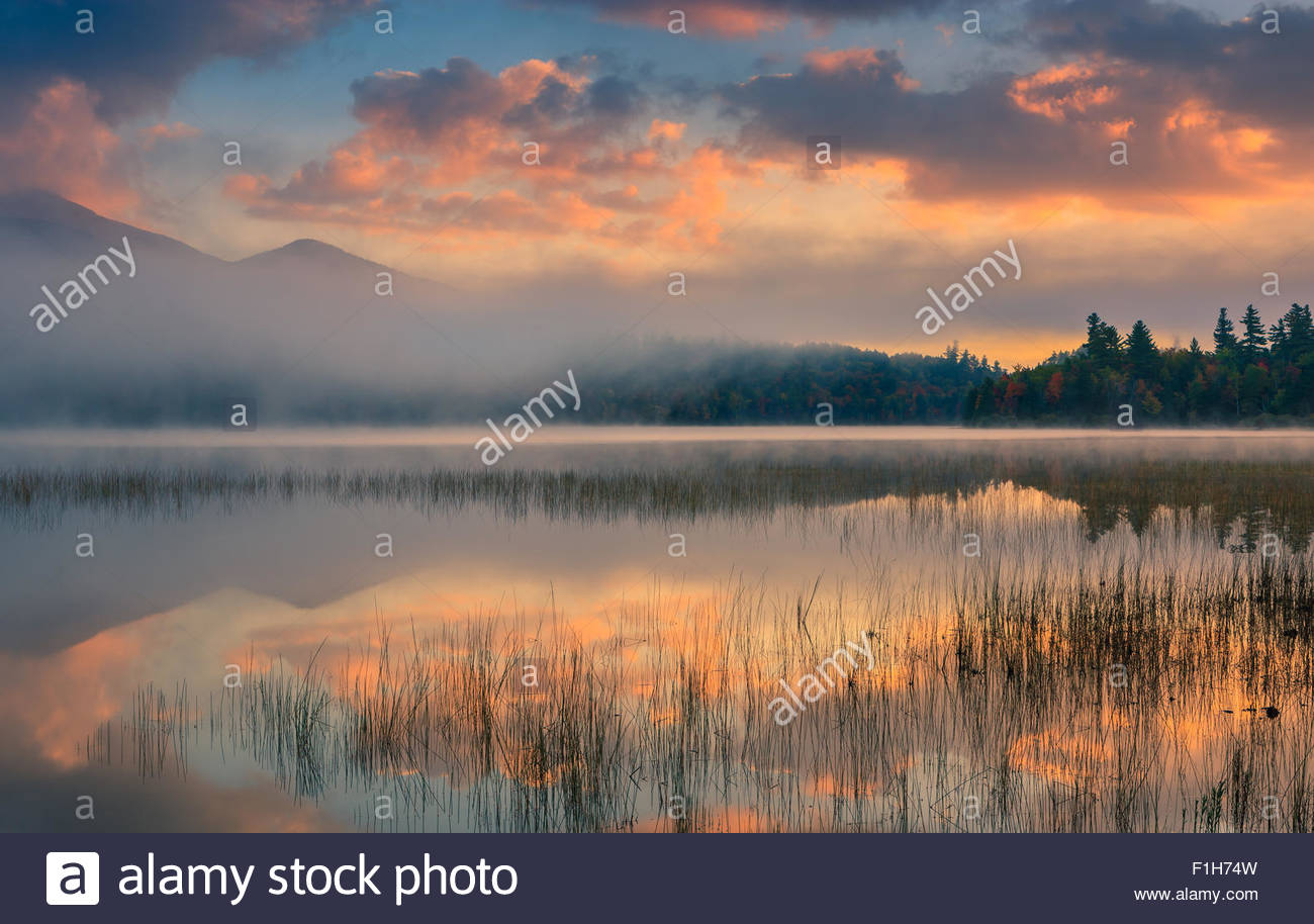 Connery Pond in Adirondacks State Park, close to Lake Placid in the northern part of New York State, USA - Stock Image