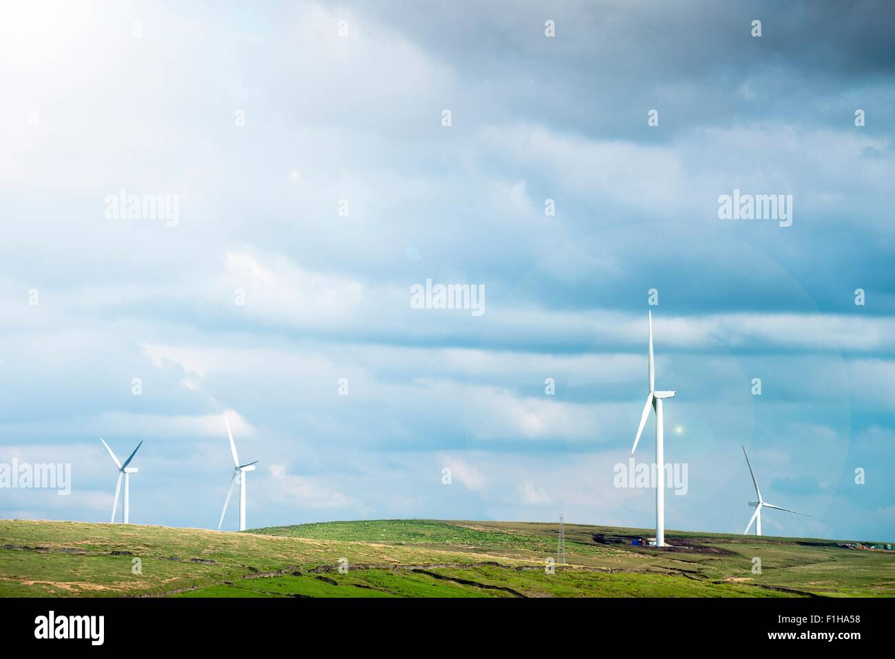 View of wind turbines on moorland, UK - Stock Image