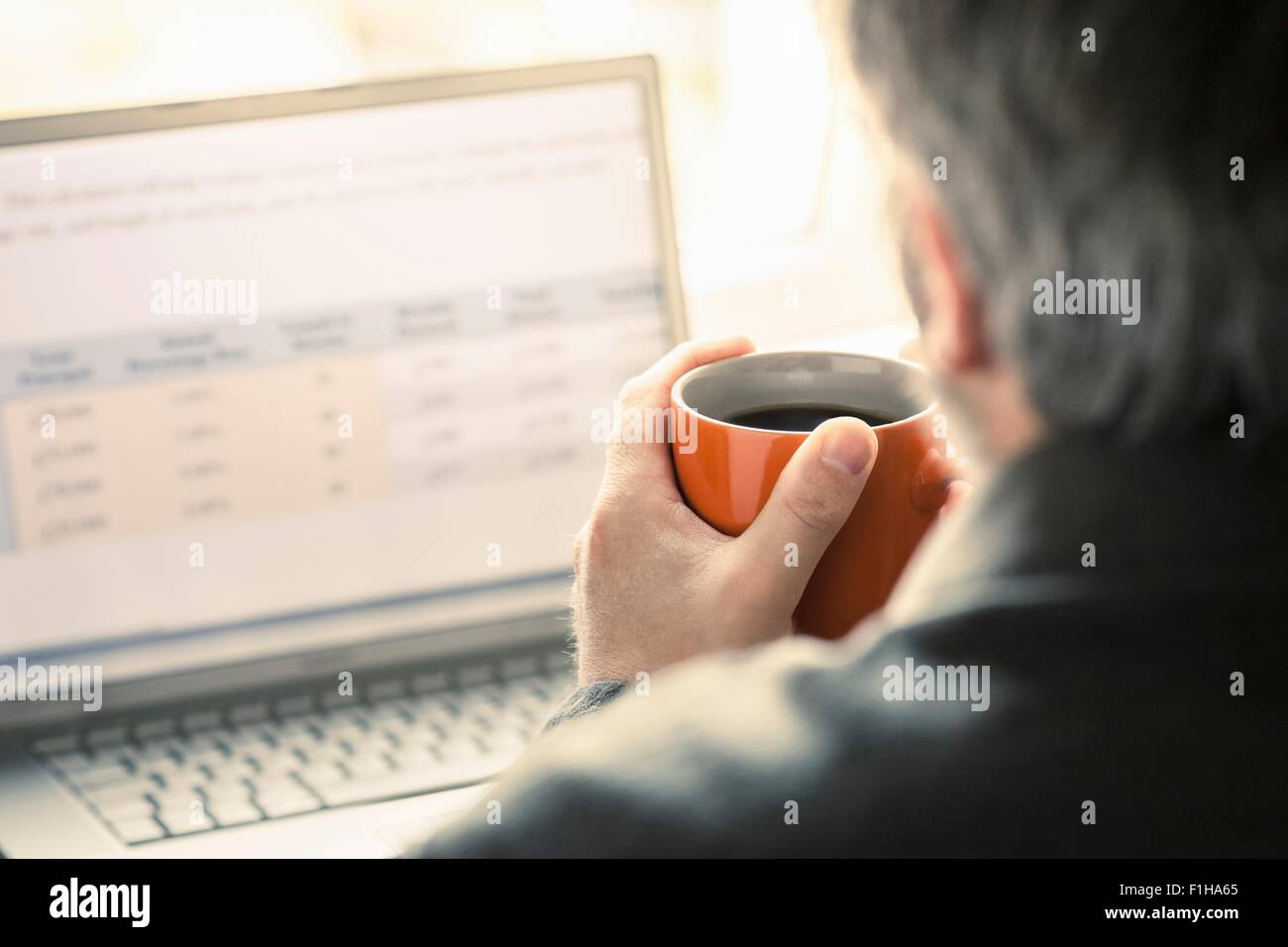 Over shoulder view of man browsing laptop at desk - Stock Image