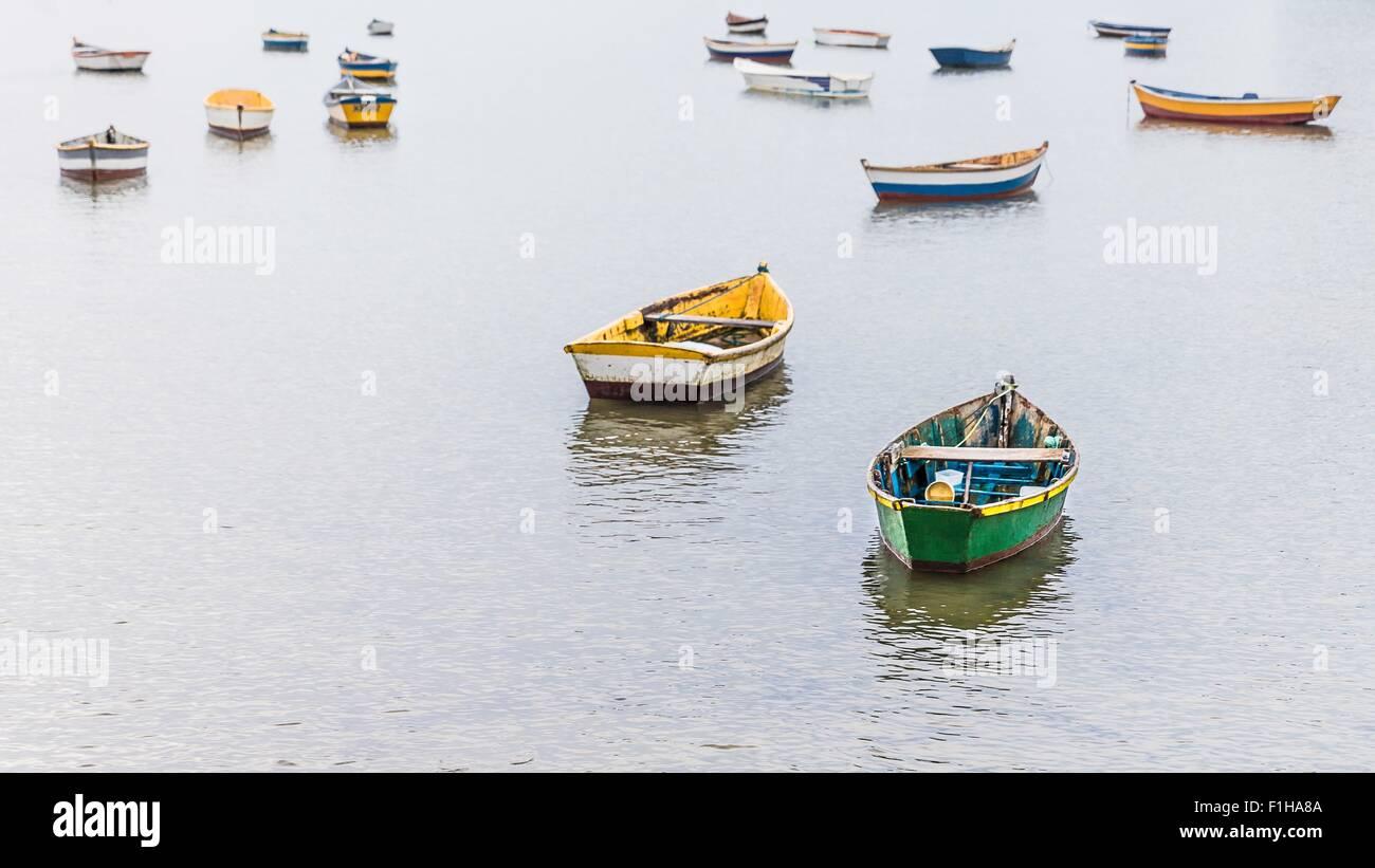 Group of anchored rowing boats, Manguinhos, Buzios, Rio de Janeiro, Brazil - Stock Image