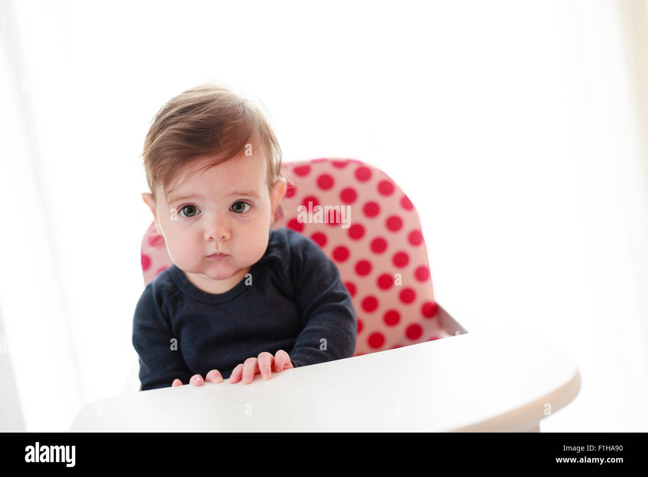 Six (6) month old baby girl in high chair - Stock Image
