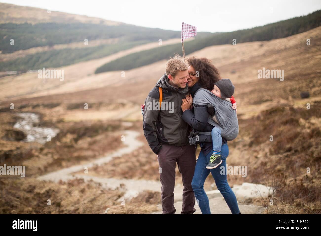 Family hiking, Fairy Pools, Isle of Skye, Hebrides, Scotland - Stock Image
