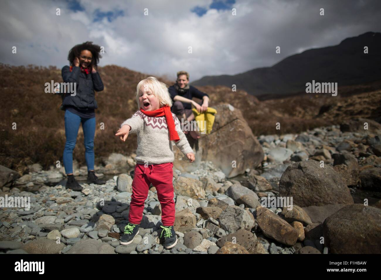Boy pointing and shouting - Stock Image