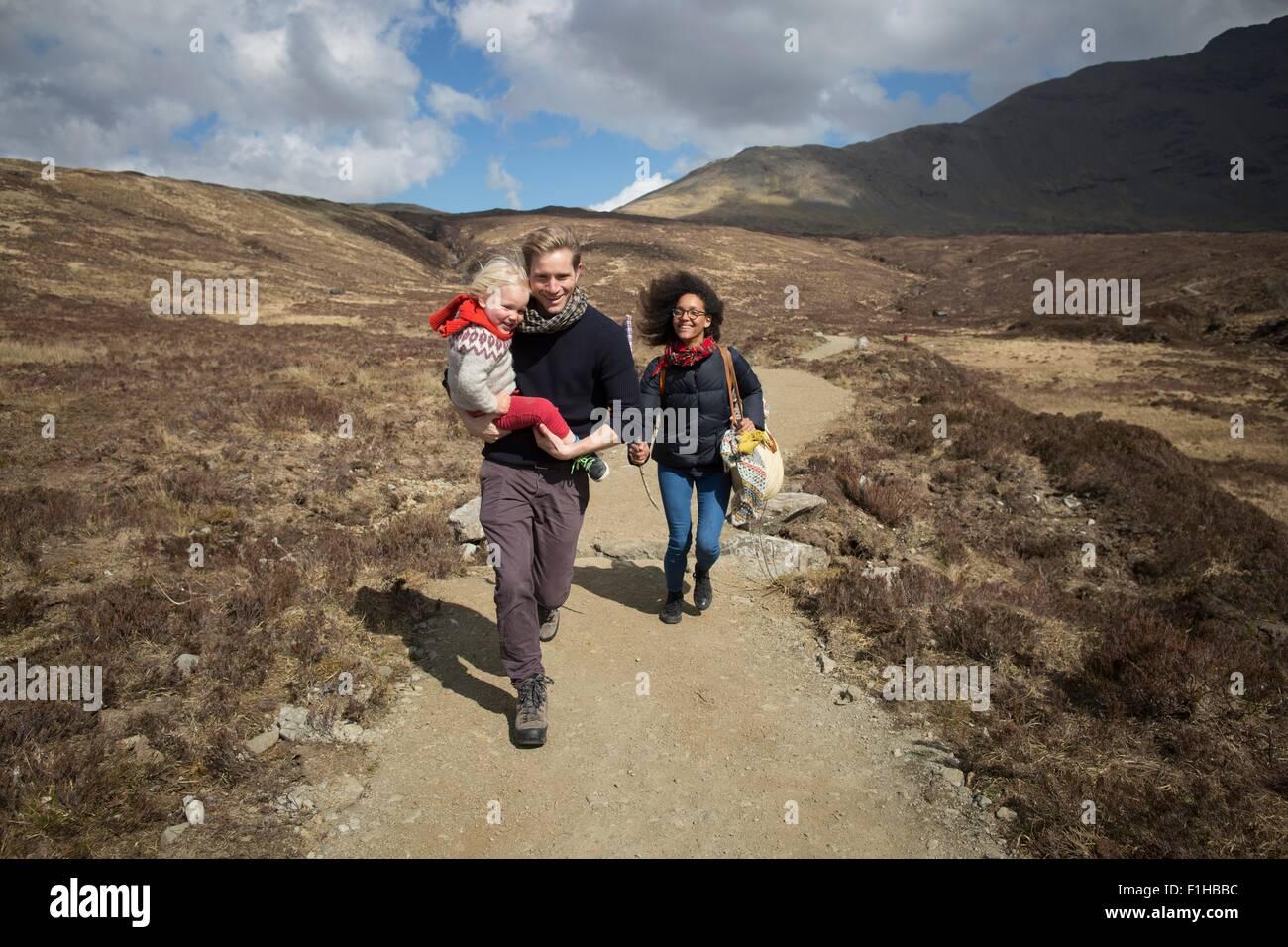 Family out hiking, Fairy Pools, Isle of Skye, Hebrides, Scotland - Stock Image