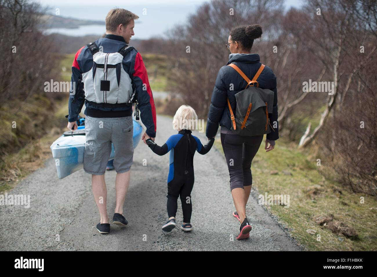 Family walking on country road holding hands, rear view - Stock Image