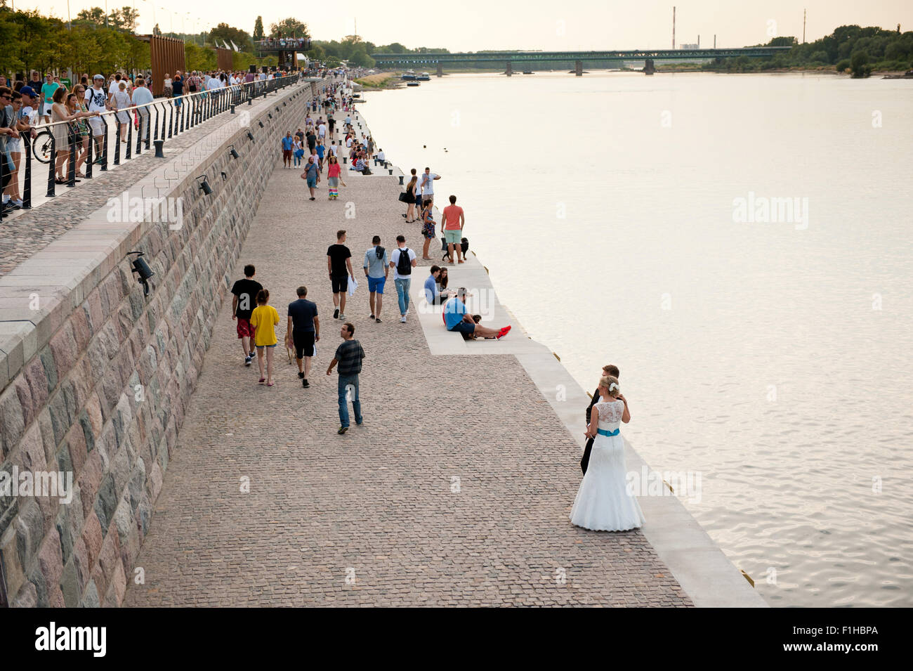 Newlyweds at the Boulevard of Vistula River - Stock Image
