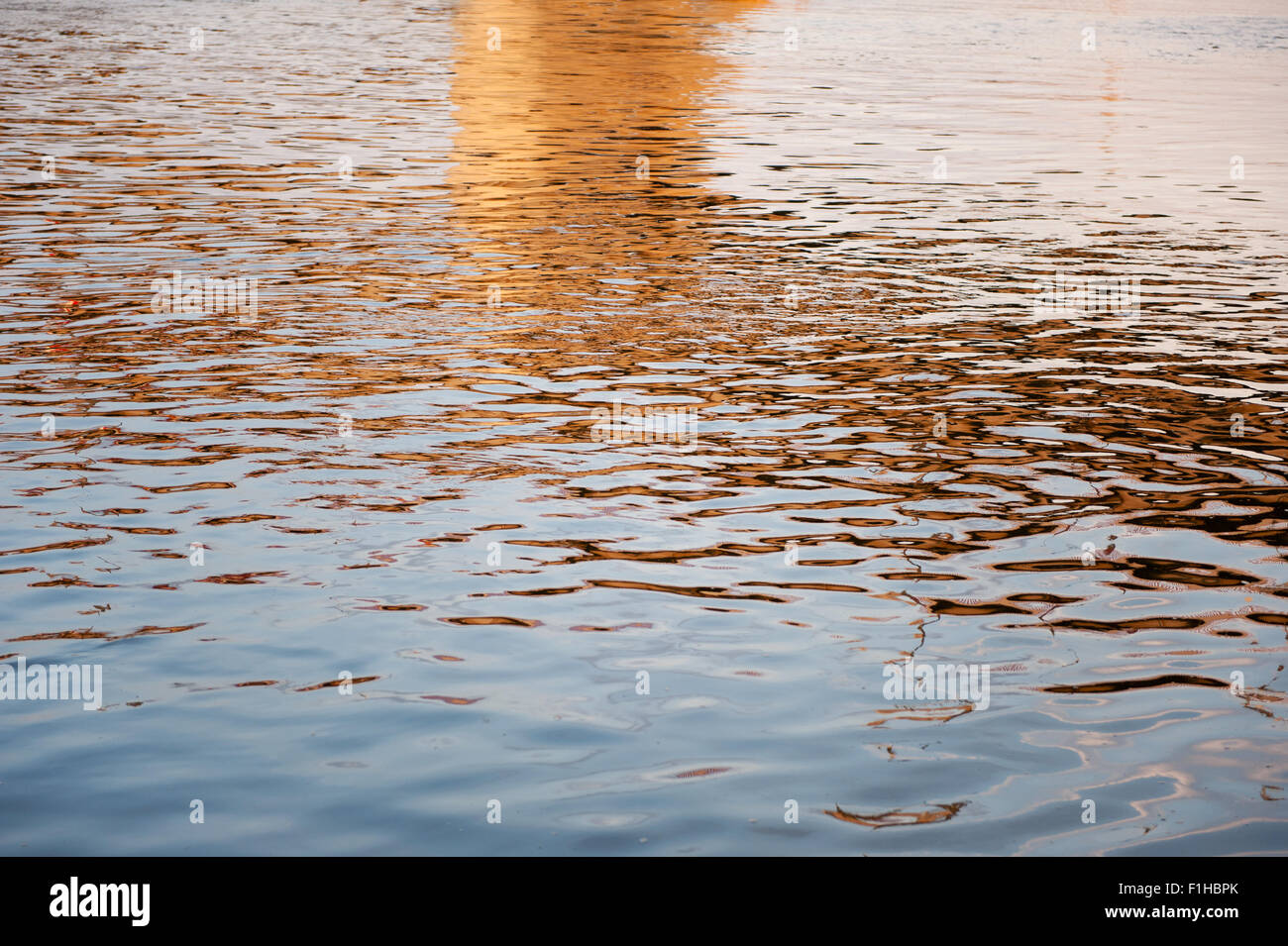 Water reflections blue ripples - Stock Image