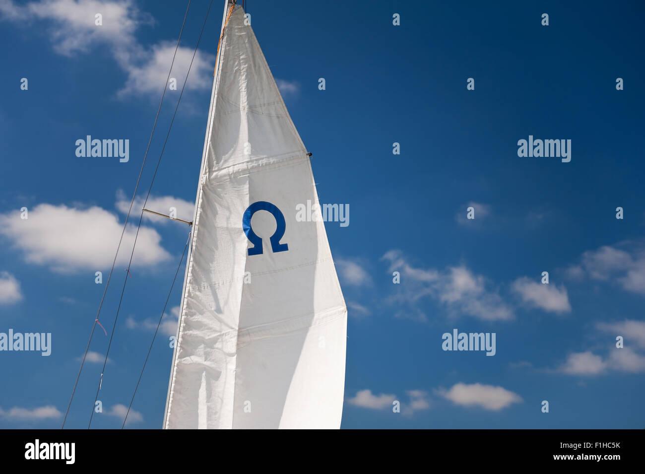 Blue Omega sign mast detail - Stock Image