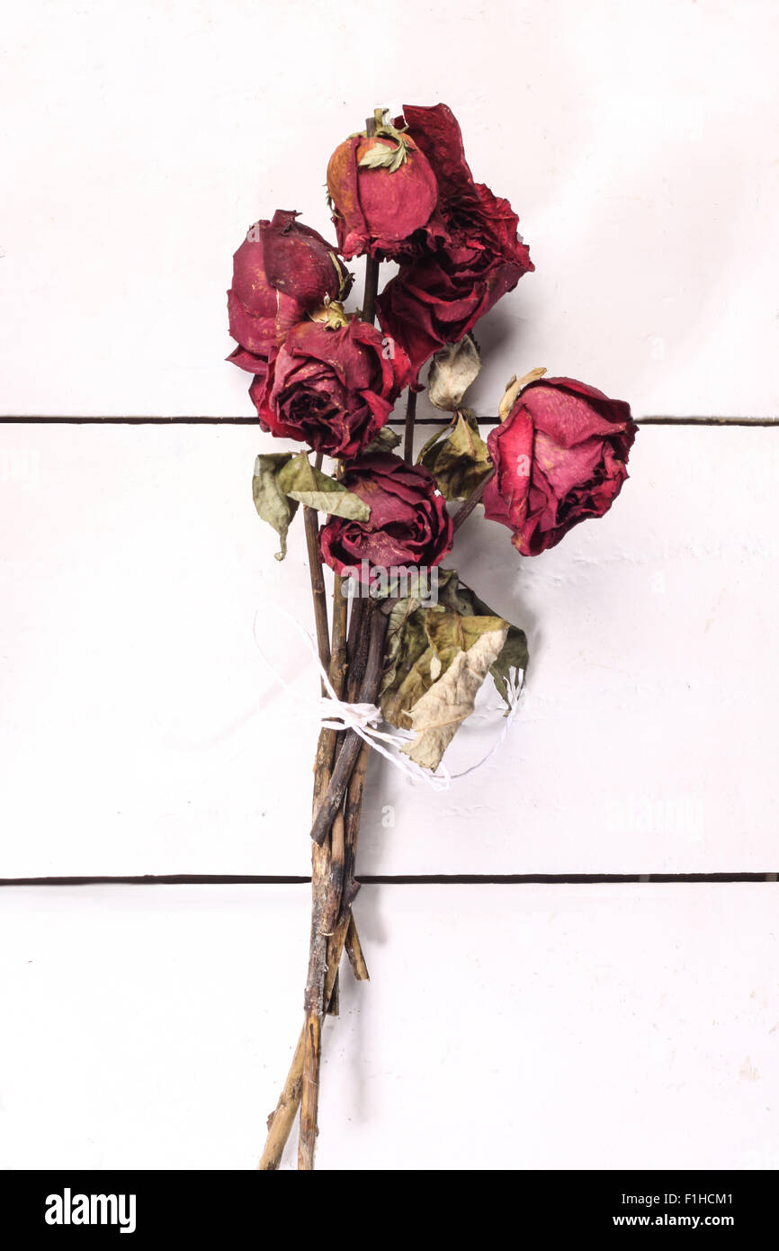 Death anniversary flower cut out stock images pictures alamy red dried rose bouquet being tied with rope isolated on white wooden background stock mightylinksfo