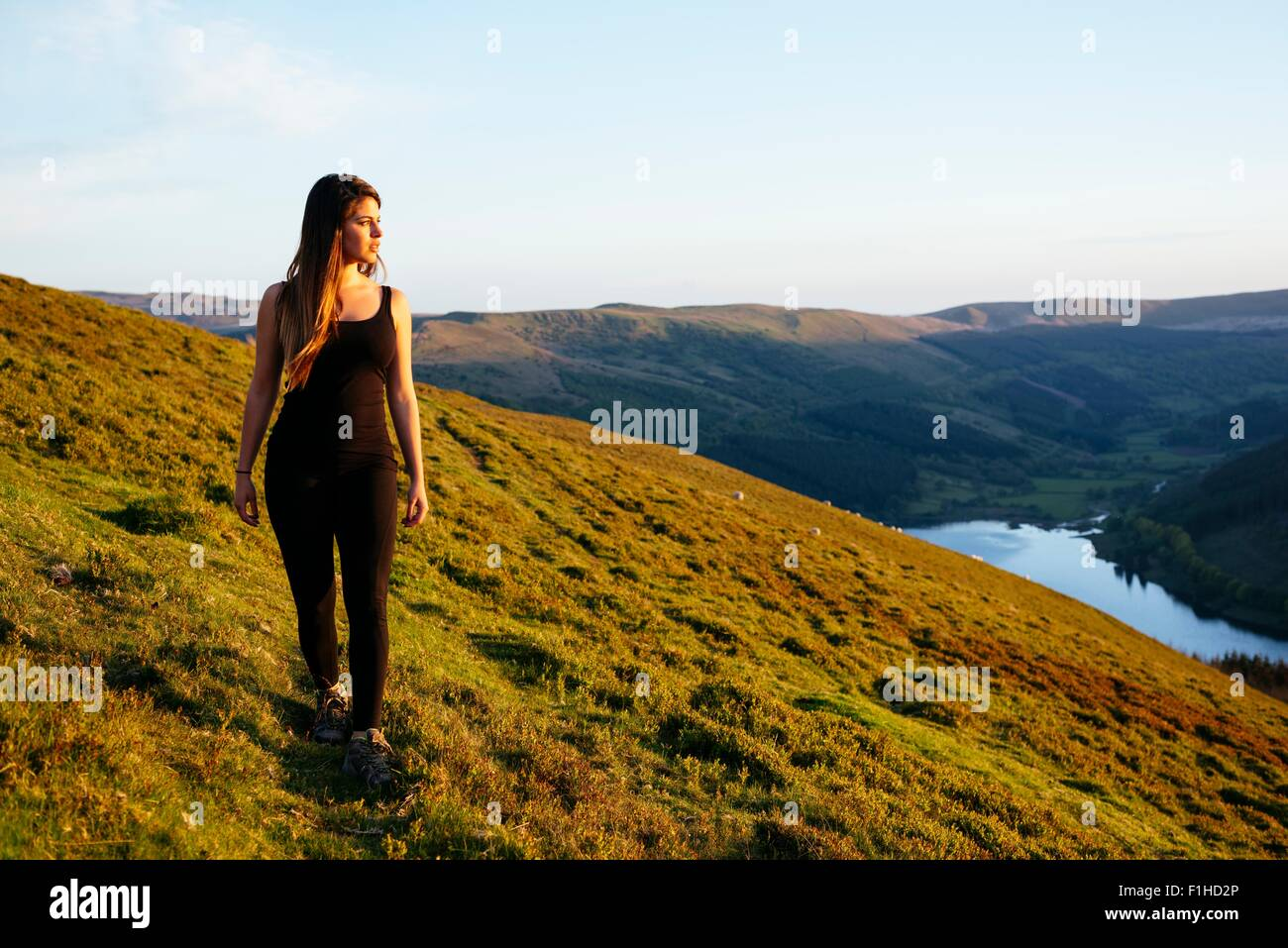 Young woman strolling, Talybont Reservoir in Glyn Collwn valley, Brecon Beacons, Powys, Wales - Stock Image