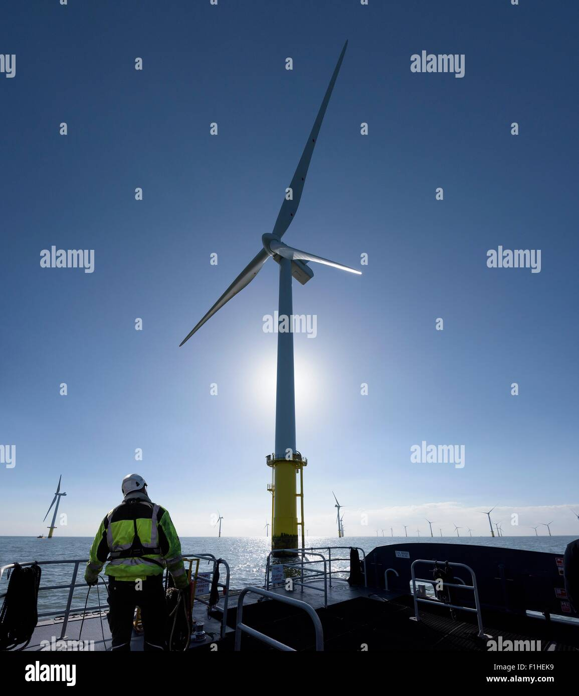 Worker on tender service ship on offshore windfarm - Stock Image