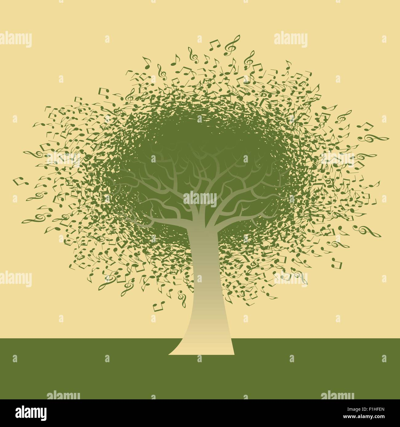 Abstract Musical Note Tree illustration for Web or Print Stock ...