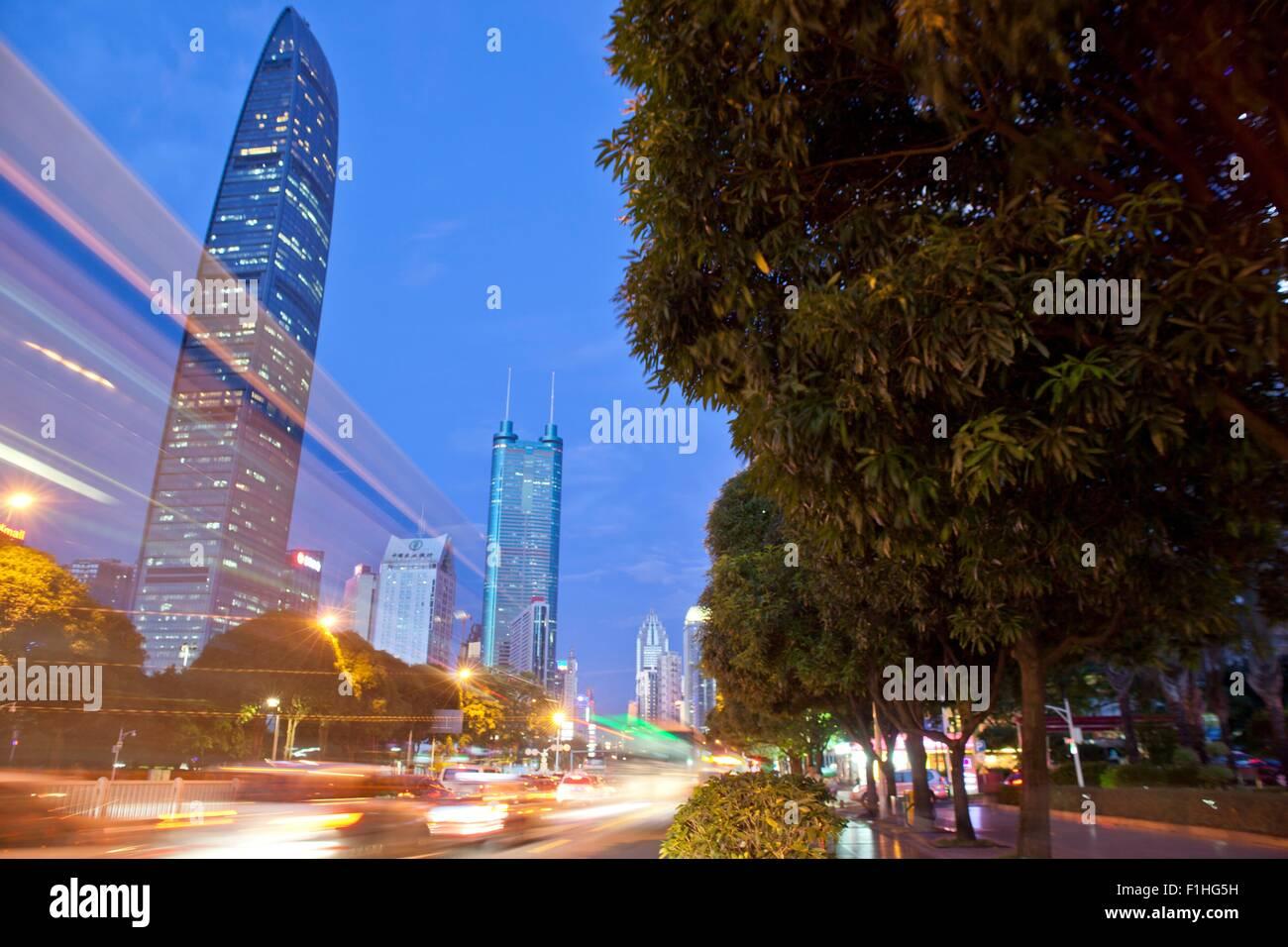KK100 building, Shenzhen, early evening, long exposure, Shanghai, China - Stock Image