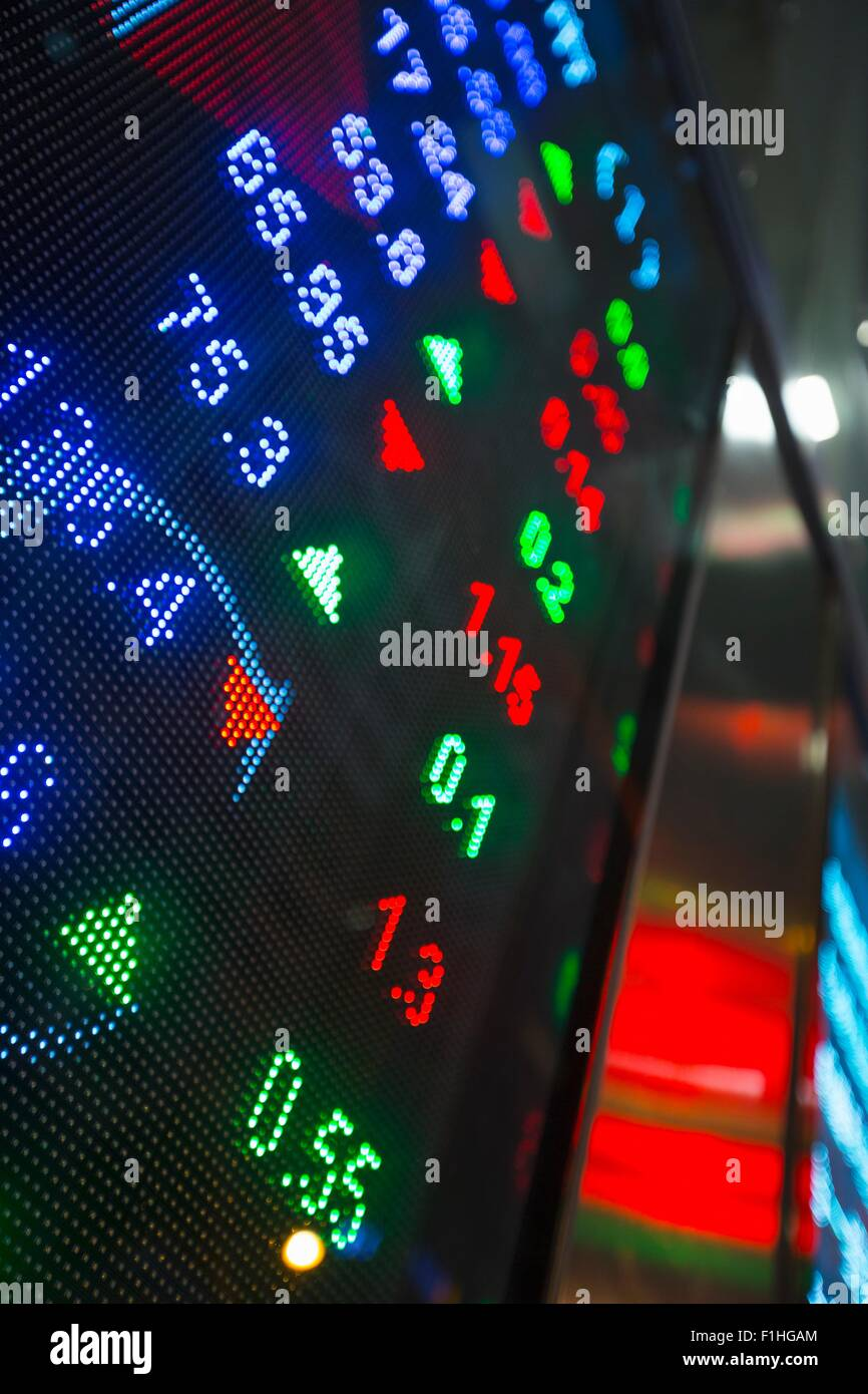 Digital display for stock market changes, Hong Kong, China - Stock Image