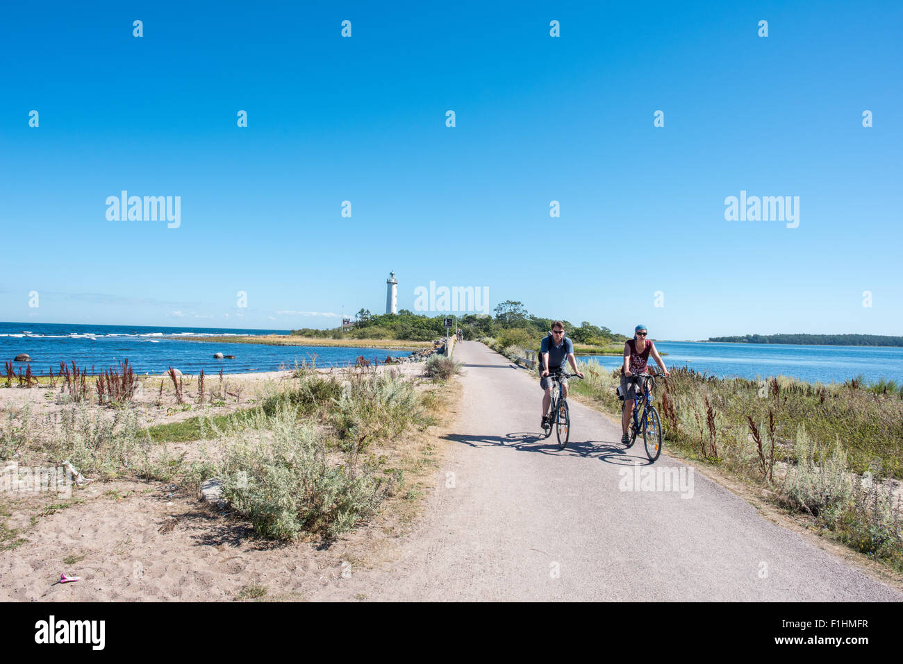 "The famous lighthouse ""Långe Erik"" (= Tall Erik) on the northern point of Swedish Baltic Sea island Oland. - Stock Image"