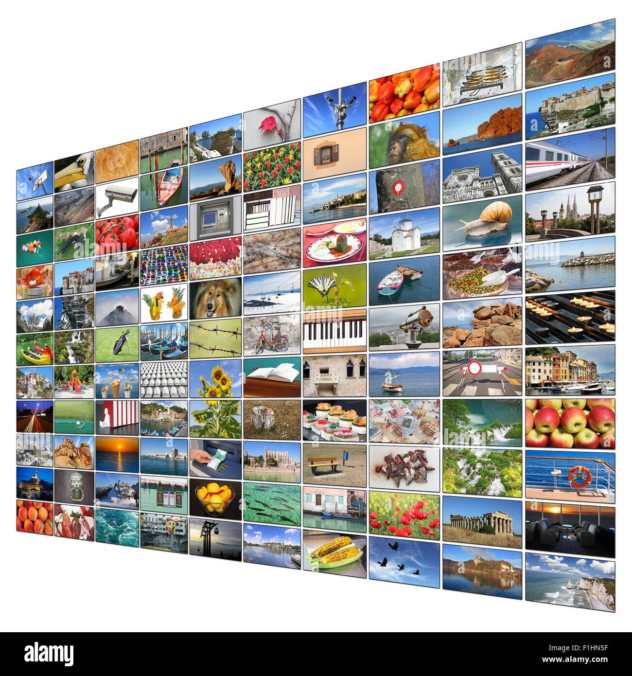 A variety of images as a big video wall of the TV screen - Stock Image