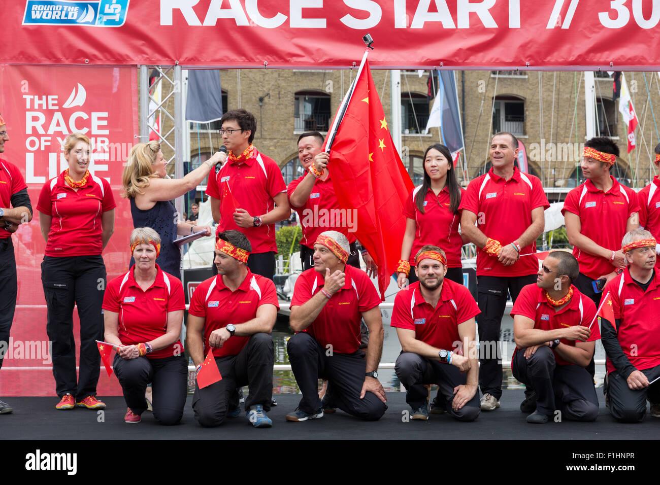 Clipper team Qingdao posing for team photographs in St Katharine Docks - Stock Image