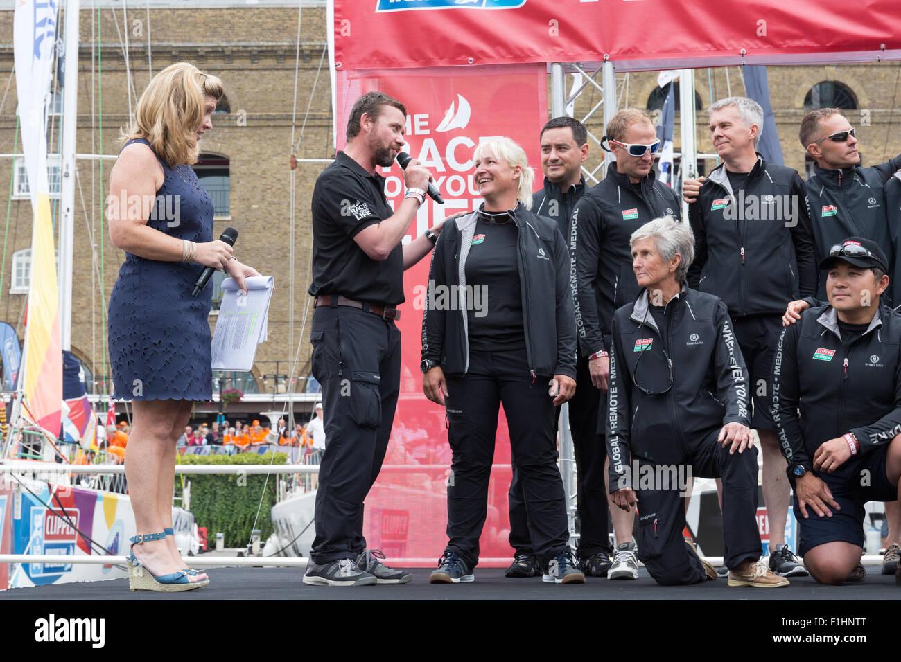Clipper team Telemed+ posing for team photographs in St Katharine Docks - Stock Image
