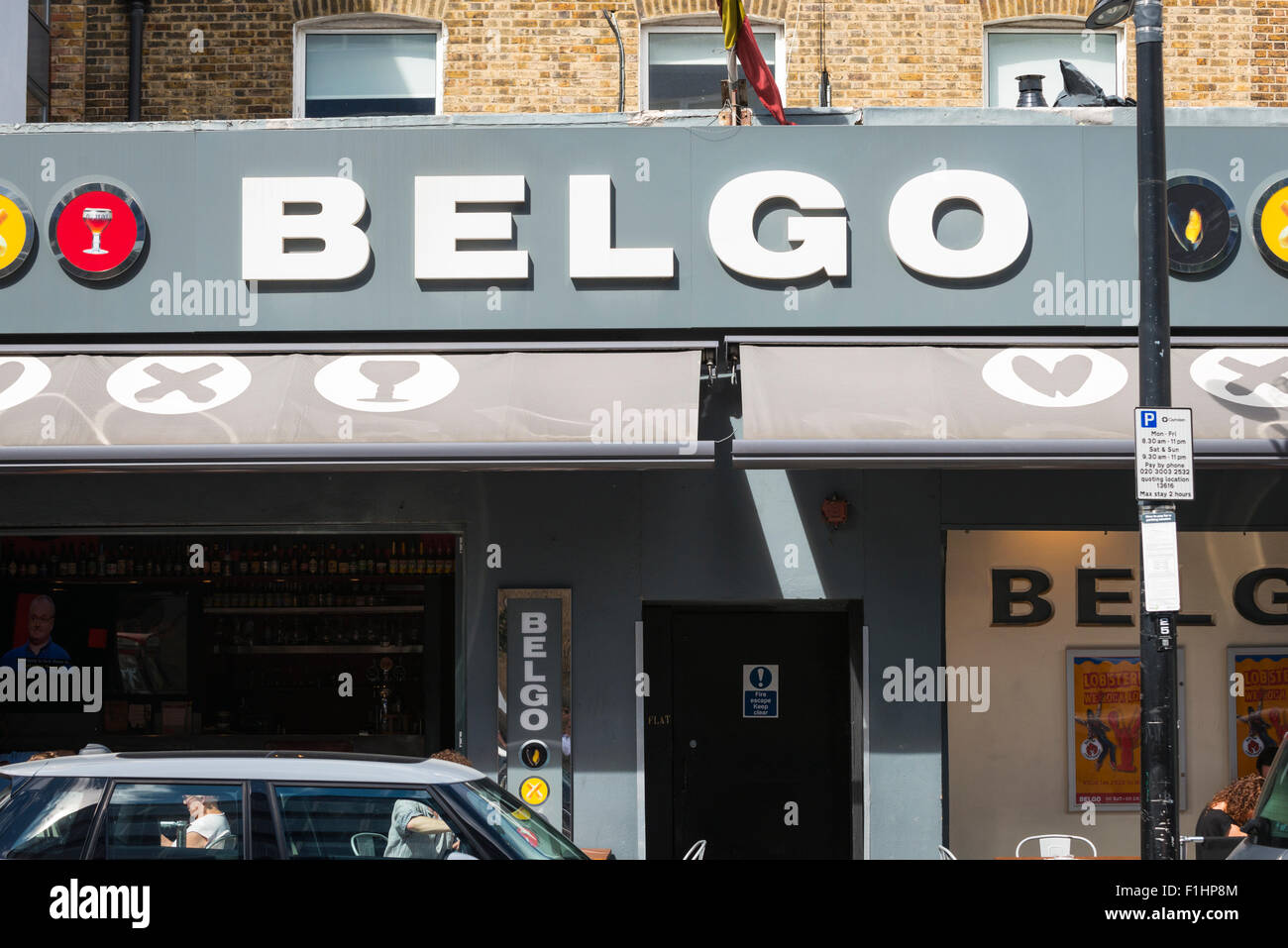London , Chalk Farm , Camden Town Belgo Belgian style restaurant cafe bar waffles moules frites mussels fries chips - Stock Image