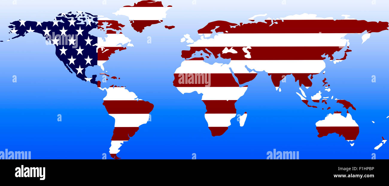 Symbolbild: Supermacht USA: Laenderumriss mit Flagge/ symbolic image: superpower USA: outline and flag. - Stock Image