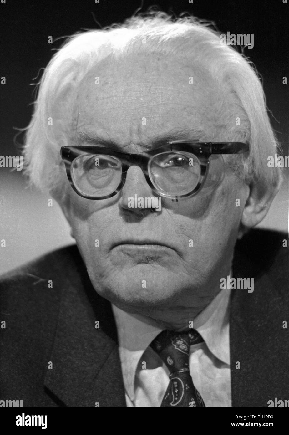 Michael Foot MP British Labour Politician - exclusive image by David Cole from the archives of Press Portrait Service. - Stock Image