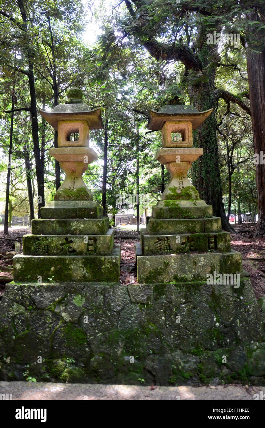 Lanterns at pathway go to Kasuga Shrine in Nara, Japan - Stock Image
