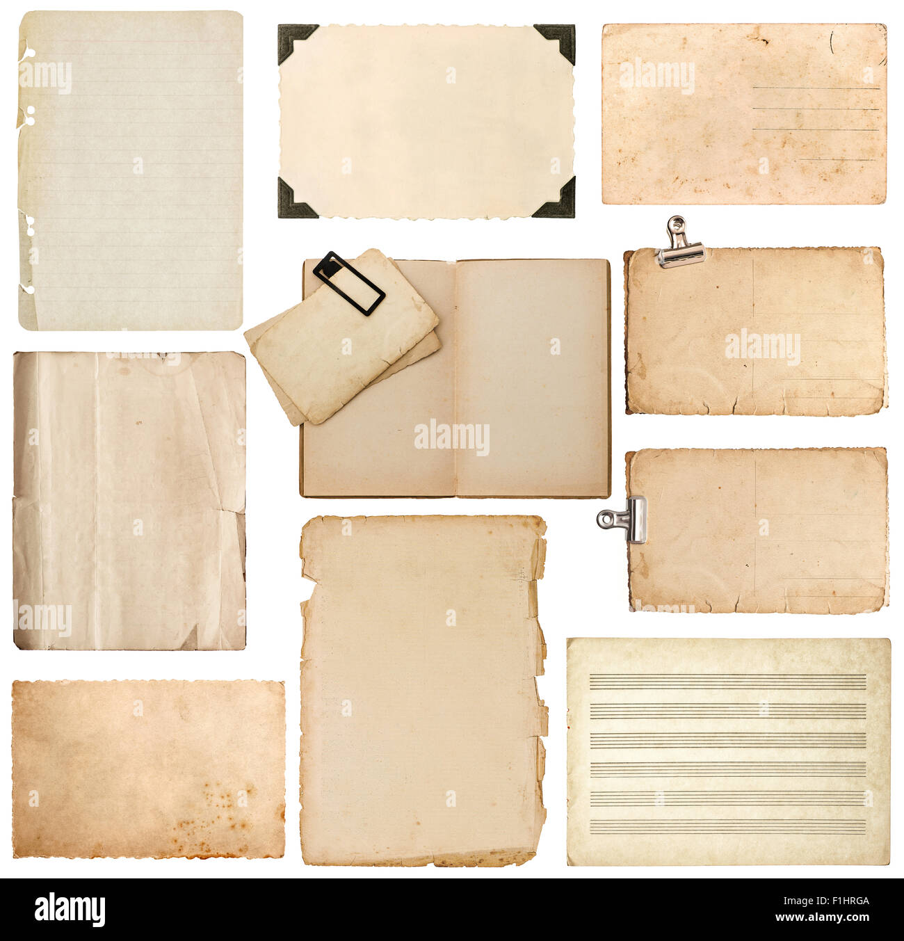 Set of old paper sheet, bookpage, cardboard, photo frame with corner isolated on white background Stock Photo